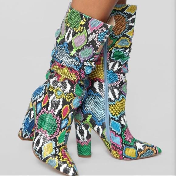 Fashion Nova Shoes - Bring It On Heeled Boots - Rainbow Snake